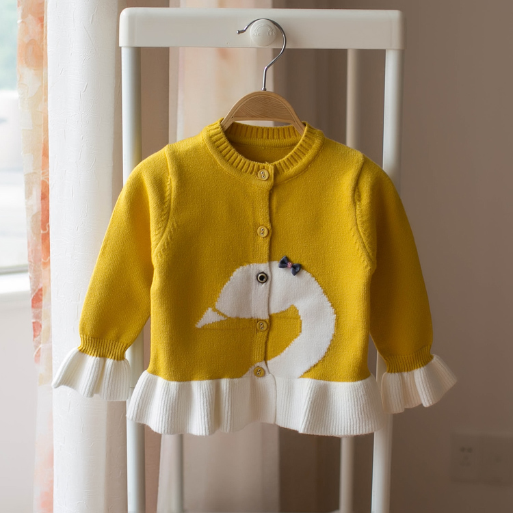 Foreign Trade 2018 Fall New Baby Girls Cute Ruffles Knitted Sweaters Little Kids Casual Cardigan Jacket Children's Knitwear A672 цены