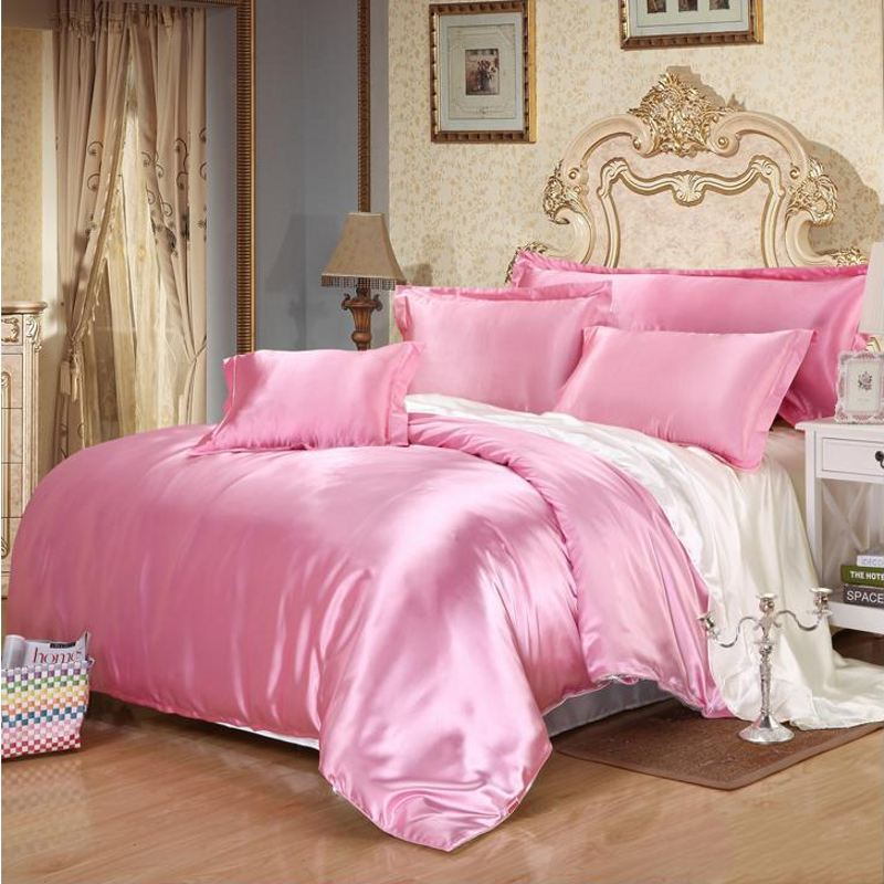 Pink White Imitated Silk Bedding Sets Queen Twin 4pcs Solid Color