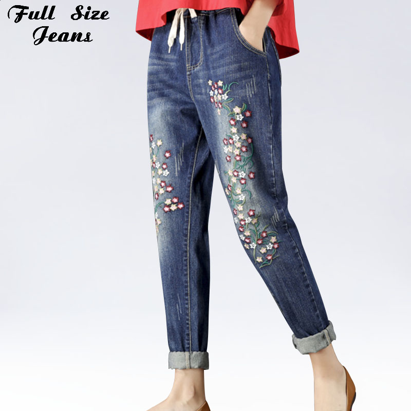 Plus Size Floral Embroidery Loose Harem   Jeans   4Xl 3Xl Autumn Winter Elastic Waist Boyfriend Style Dark Blue Long   Jeans