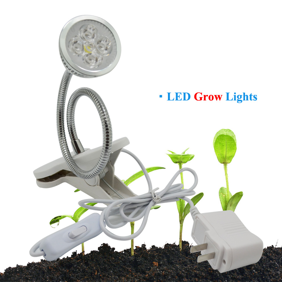 5W LED Grow Light Flexible Holder Clip Plant Grow Lamp for Indoor ...