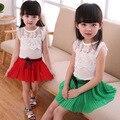 Bebé Ropa de Las Muchachas fijaron 2 unids de Encaje Top + Skirt Outfit Juegos de Los Cabritos de Princesa muchachas Del Verano trajes