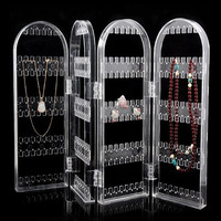 Jewelry Hanger Organizer - Foldable Acrylic Earring, Necklace & Bracelet Holder Display Stand