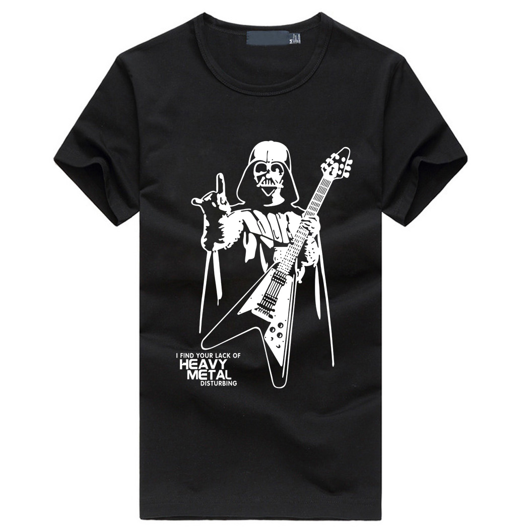 Men Darth Vader Heavy Metal printing Designer Funny   T     Shirts   Short Sleeve Tee Creative fashion Star War   t  -  shirts   Cotton S-XXXL