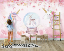 beibehang Custom size Fashion decorative painting stereo micrometer papel de parede 3d wallpaper watercolor unicorn background