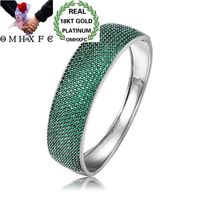 OMHXFC Wholesale European Fashion Woman Party Birthday Wedding Mother Gift Wide AAA Zircon 18KT White Gold Bracelet Bangle ES141