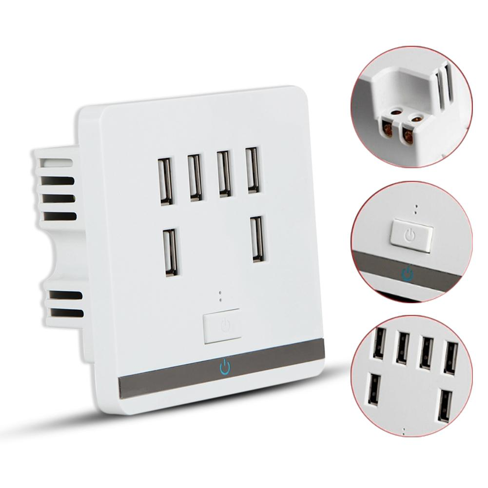 6 Port 3.4A USB Wall Charger Socket Power Receptacle Outlet Plate Panel Switch 1 pc 120x70x40mm dual usb port wall socket charger ac power receptacle outlet plate panel station vbu78 t50
