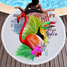Printed Tropical Leaves Flower Flamingo Round Beach Towel Microfiber Beach Towels Roundie For Adults Serviette De Plage(China)