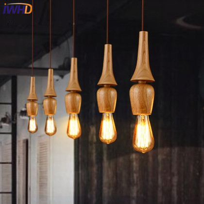 Здесь продается  IWHD Single Head Retro wood Pendant Light Fixures Loft Industrial Vintage Lamp Restaurant bar kitchen Hanglamp home Lighting   Свет и освещение
