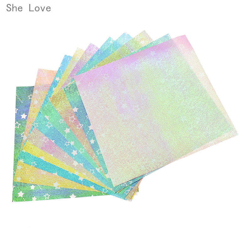 She Love 10 Sheets 15x15cm Laser Colored Origami Paper Scrapbooking Paper Kids Gift DIY Decorative Craft