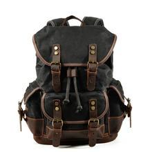 MUCHUAN, хлопковый холщовый рюкзак с масляным воском, мужской Большой Вместительный винтажный водонепроницаемый рюкзак, 15 дюймов, рюкзаки для ноутбуков, рюкзак с заклепками