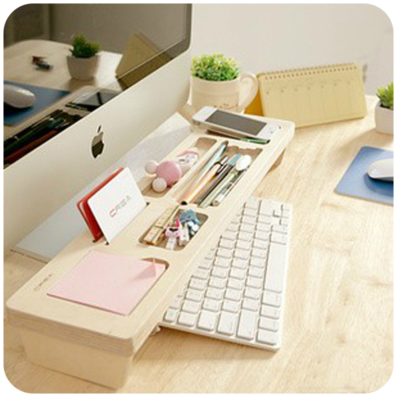 Fashion Wooden Desk Organizer Office Stationery Racks Personalized Desktop Pen Office