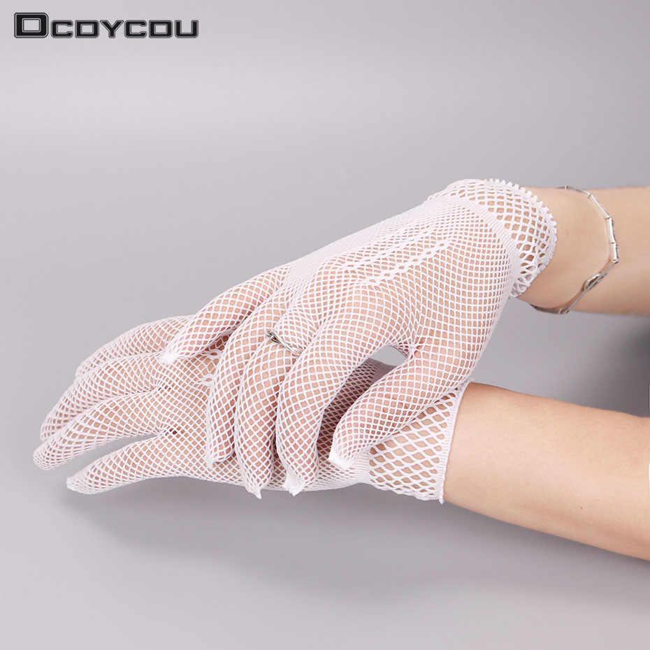 1 пара, хит продаж, рыболовная сеть, перчатки, модные женские перчатки для девушек, элегантные кружевные перчатки черного и белого цвета