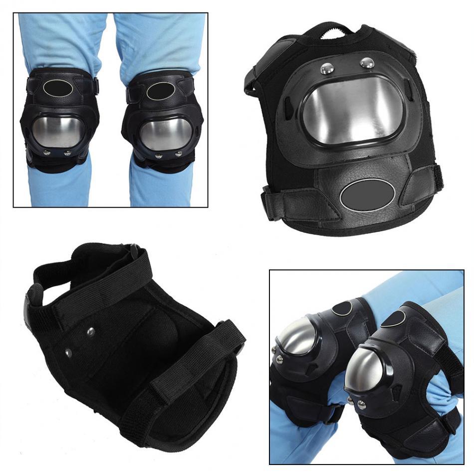 Zerone 2 vnt. Nerūdijančio plieno motociklai ATV suaugusiesiems Kelno trinkelės Shin Guard Armor Set