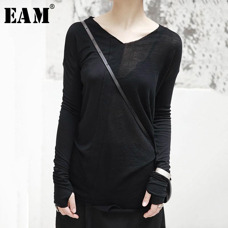 [EAM] 2020New Spring Autumn  V-collar Long Sleeve Half Split Joint Perspective Loose Thin T-shirt Women Fashion Tide JI101
