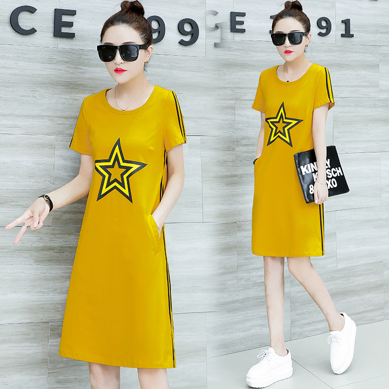 YICIYA Yellow T Shirt Dress with Pockets Women Cotton Loose Plus Size Tshirt Dresses Striped 2019 Summer Fashion Casual Clothing