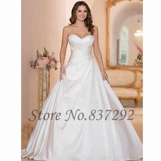 dd60909e6b0 Vestido de Noiva White Elegant Ball Gown Wedding Dresses Satin Corset Back Plus  Size Bridal Gowns Women Mariage 2016