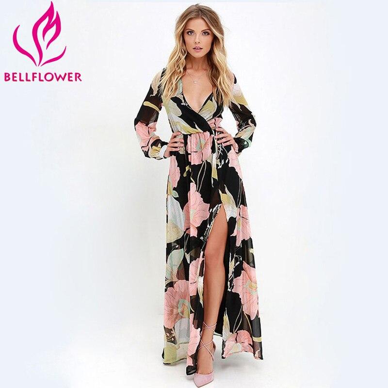 2017 summer beach dress mujeres de la impresión floral v cuello sexy dress divid