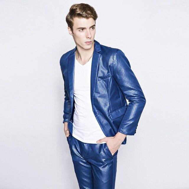 2016 Personalizado Slim Fit Side Slit Vestido Xadrez Lapela Entalhe Homens Ternos do noivo Smoking Terno Homem de Negócios Jaqueta + Calça 2 Conjuntos homens