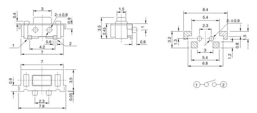 10 個の Smt 3X6X3.5 Mm 触覚タクトプッシュボタンマイクロはモーメンタリー 3*6*3.5 ミリメートル