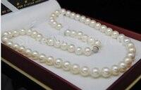 Ручной работы прекрасный шарик Мисс Очарование fine 11 12 мм AAA + белые жемчужные ожерелья 17 Длинные