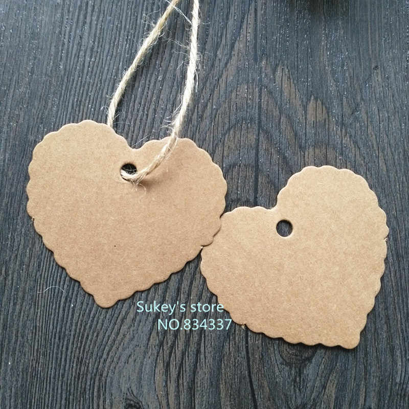 50pcs/lot 6x5.5cm heart-shaped blank label Vintage cowhide paper  gift tags,bookmarks,message card diy decoration