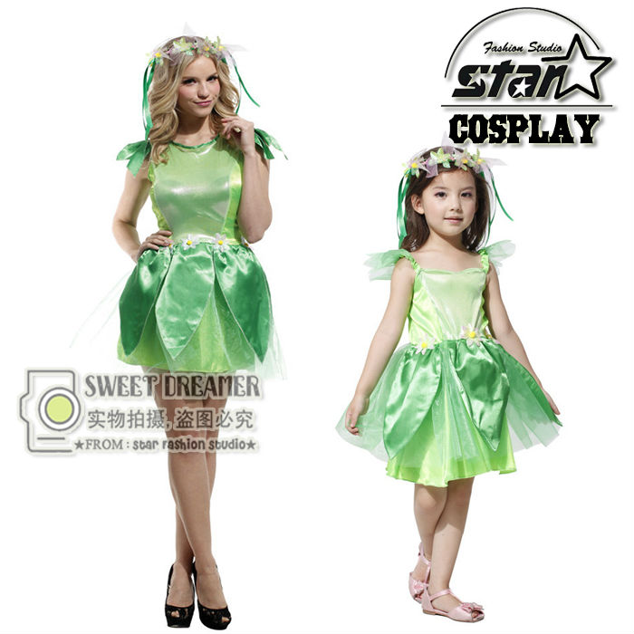 wizard of oz halloween costumes for mommy girls family matching elf princess dress elves flower fairy stage costume cosplay - Halloween Costumes Matching