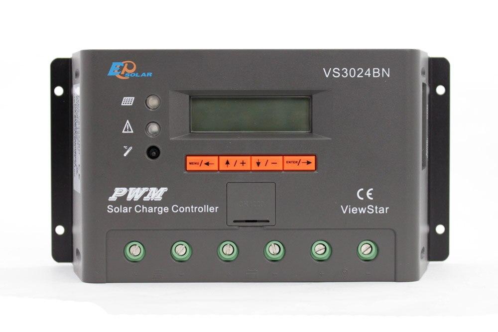 30A régulateur PWM EPEVER système de panneaux solaires livraison gratuite 30 ampères VS3024BN batterie portable solaire petite station écran d'affichage LCD