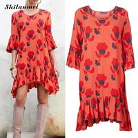 Dress מסלול האופנה 2016 חדש של נשים boho לפרוע את שולי שרוול עטוף סימטרי רפוי אדום מודפס צועני קיץ dress