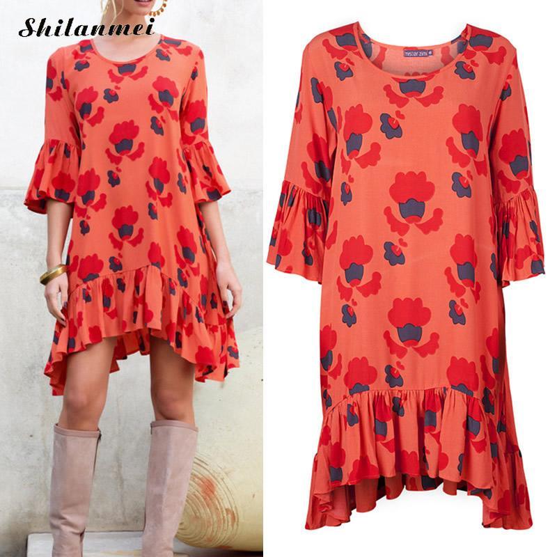 New fashion 2016 runway dress delle donne allentato lato manicotto dell'increspatura asimmetrica orlo drappeggiato boho rosso stampato gypsy summer dress
