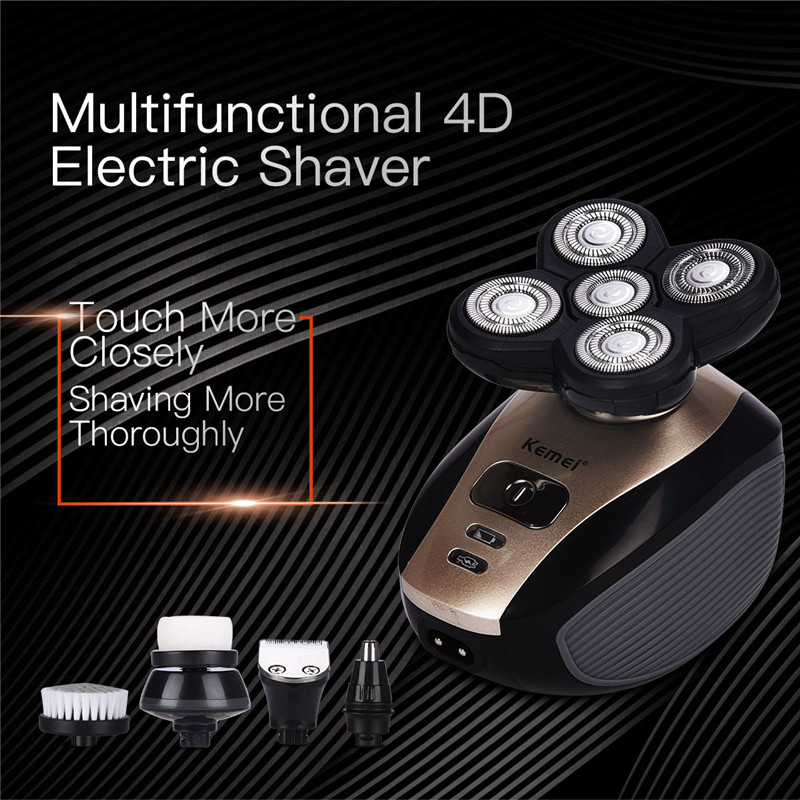 Kemei 5 in 1 Electric Shaver Men Nose Hair Trimmer Washable 4D Floating Blade Head Shaving