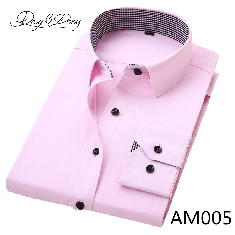 DAVYDAISY High Quality Men Shirt Long Sleeve Twill Solid Formal Business Shirt Brand Man Dress Shirts DS085 12