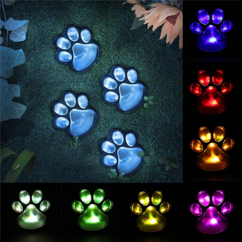 Colorful/Warm White Solar Powered 4 LED Dog Animal Paw Print Lights Outdoor Garden Lamp Landscape Decorative LED Lights ...