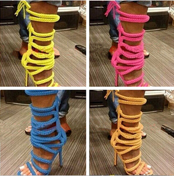 2018 Multi Color High Heels Women Gladiator Sandals Rope Lace-up Women Boots Chain Ankle Strap Summer Shoes Woman Free Shipping free shipping candy color jelly sandals new plastic chain beach shoes chain flat bottomed out sandals lace up chains women shoes