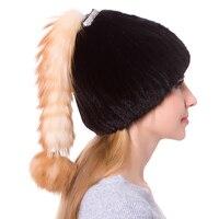 JKP Новая женская вязаная шапка из натурального меха норки с лисьим мехом зимняя Милая шапка из меха лисы для девочек DHY18 29