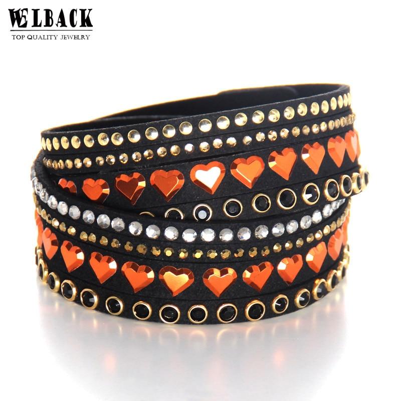 Welback New Fashion Jewelry Leather Trendy Crystal Alloy Rhinestone Long Multilayer heart Bracelets For Women