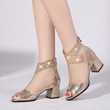women sexy sandals hot sale t- bar ankles strap med heels back zipper spring summer ladies shoes zapatos de mujer women sandals cross strap back zipper sandals