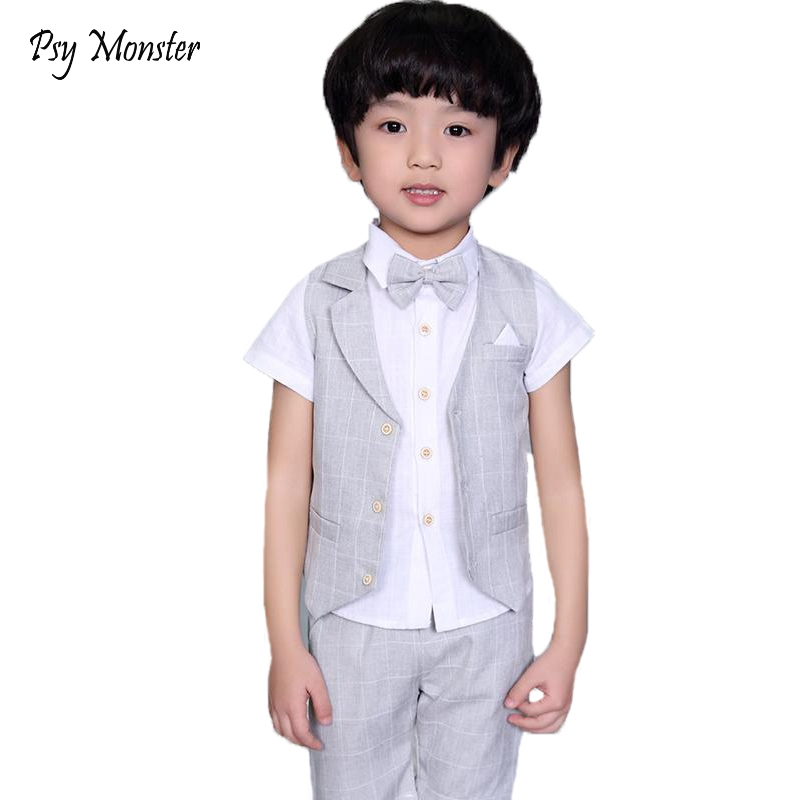 ACSUSS Kids Toddler Boys 3PCS Gentle Tuxedo Suit Long Sleeves Collar Shirt Vest Pants Outfits Set