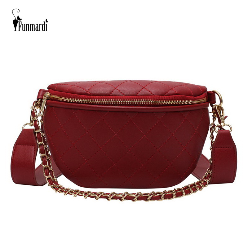 FUNMARDI New Diamond Lattice Crossbody Bags For Women Shoulder Bags Chain Design PU Leather Womens Bag Plaid Chest Bag WLHB1903FUNMARDI New Diamond Lattice Crossbody Bags For Women Shoulder Bags Chain Design PU Leather Womens Bag Plaid Chest Bag WLHB1903