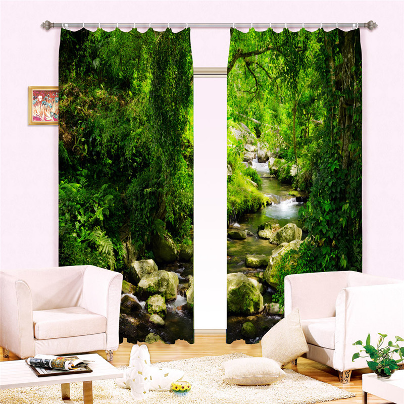 Window Curtains Luxury Blackout 3D Curtains  For Living Room Bedroom Drapes cortinas Rideaux Customized size Green lake landscap