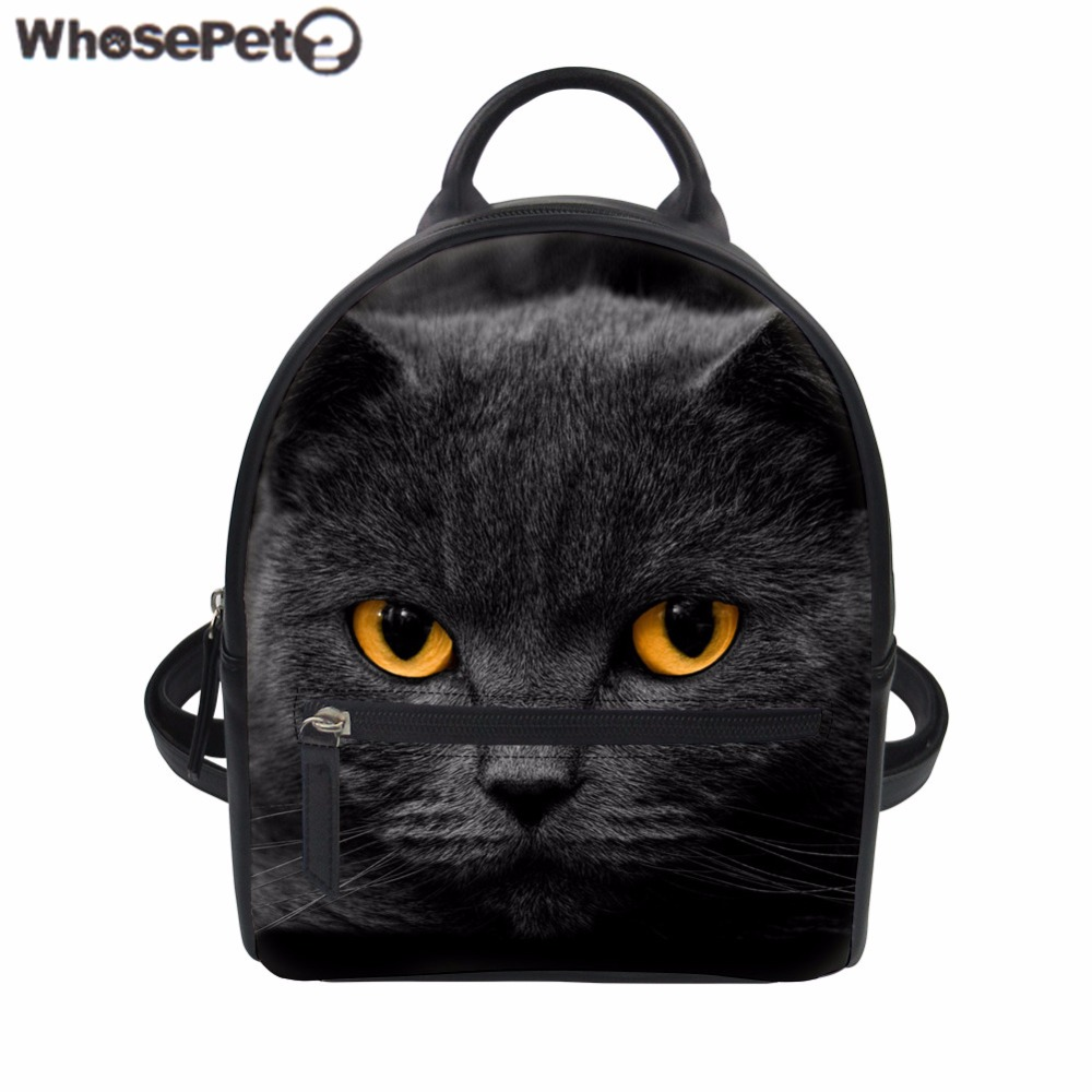 44e0826ed0 WHOSEPET Backpack Women Black Cat Print PU Leather Rucksack for Teenager  Girls Kids Small School Bag Fashion Travel Bag Mochila