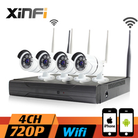 XINFI 4CH Wifi CCTV System 1080P Wifi NVR Network Video Recorder 720P WIFI HD Home Security