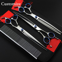 Customize japan 440c 4 kit Pet grooming 8 inch shears dog grooming hair scissors thinning cutting barber hairdressing scissors