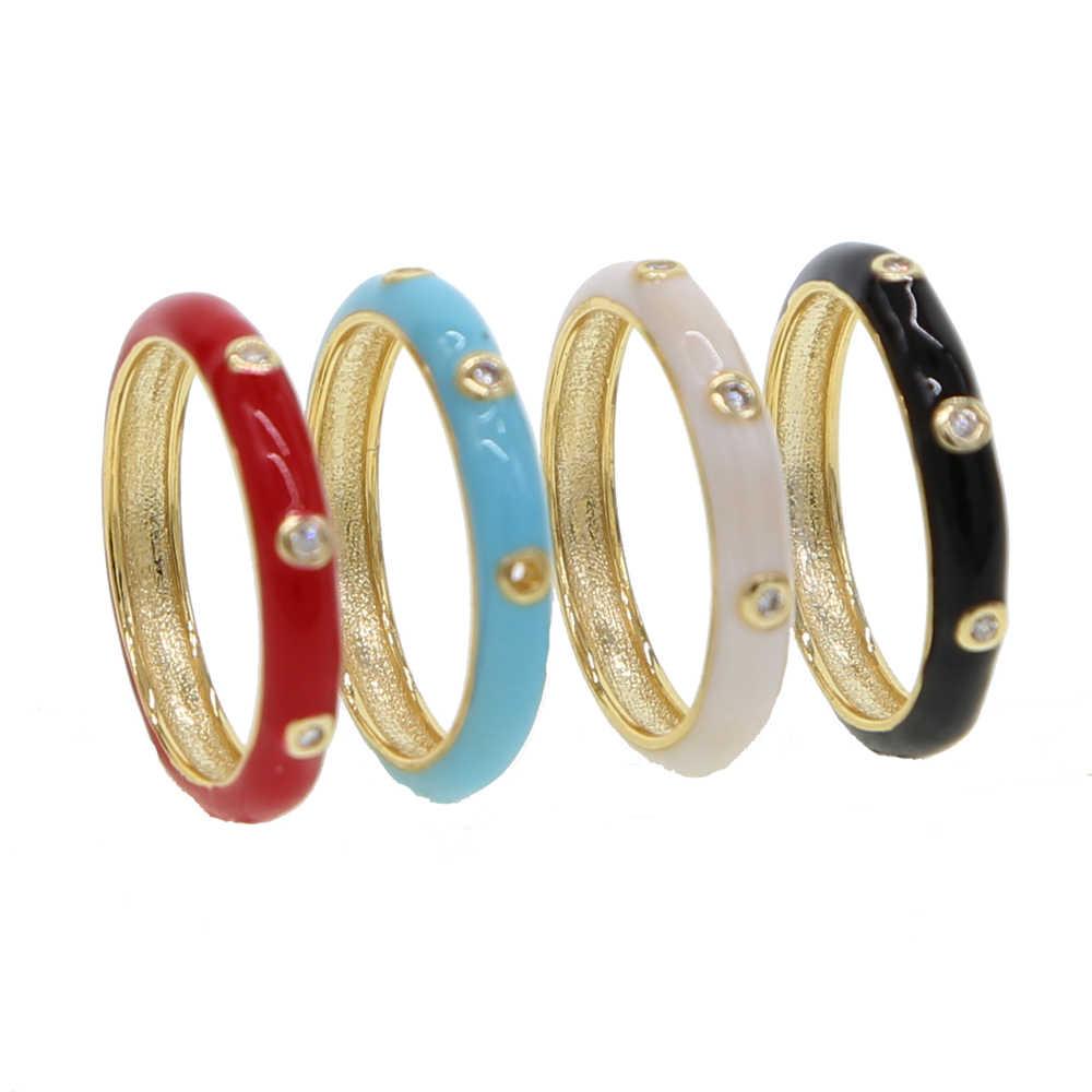 2019 nueva moda de lujo de 4 colores estilo chino pave diminuto cristal CZ anillo de esmalte rojo para mujeres linda chica fiesta joyería regalo