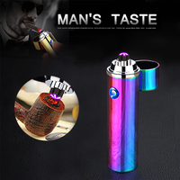 Cross Double Arc Lighter Plasma Windproof Smoke Lighter Pulse Cigar USB Lighters Electronic Pipe Cigarette Electric