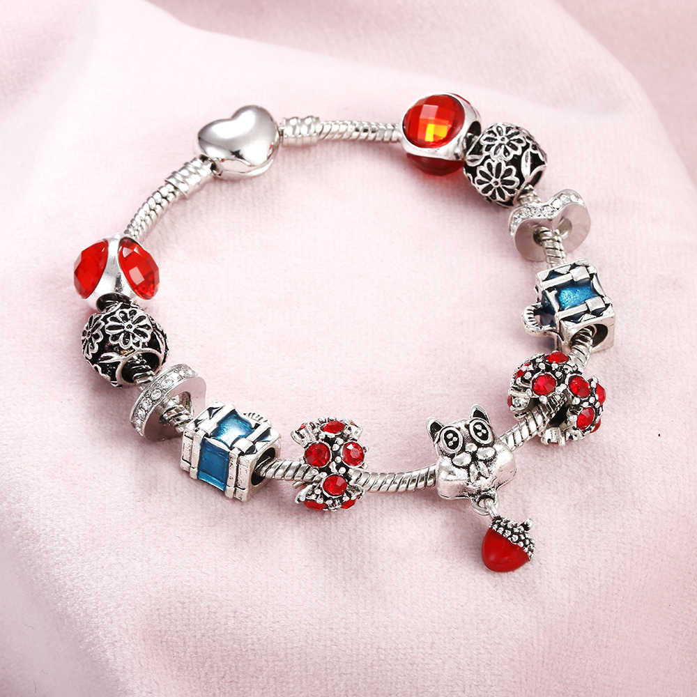 Women Bracelets Cute Dolphin Owl Angel Umbrella Pendant Silver Crystal Beads Charm Bracelet Bangle Feminine DIY Original Jewelry