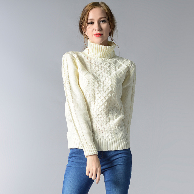 2016 New Fashion Long Sleeve Turtleneck White Sweater