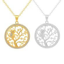 5pcs European and American fashion Tree of Life Crystal Round Owl Pendant Necklace Gold Silver Colors Women/Men Jewelry Gifts round owl pendant necklace for women tree life crystal necklace gold silver rhionstone jewelry female animal collar 2019 fashion