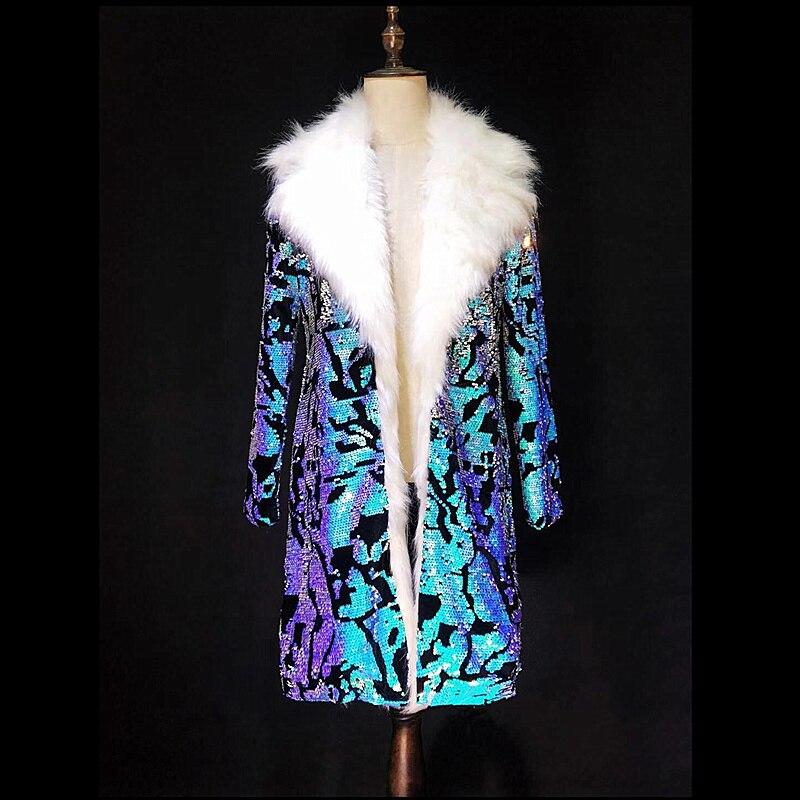 Costomized S 4XL Blu Sequins di Lusso Giacca Lunga DS DJ Men Cantante Ballerino Mostra Bar Vintage Costume Del Partito Locale Notturno Vestito Cappotto-in Giacche da Abbigliamento da uomo su  Gruppo 1