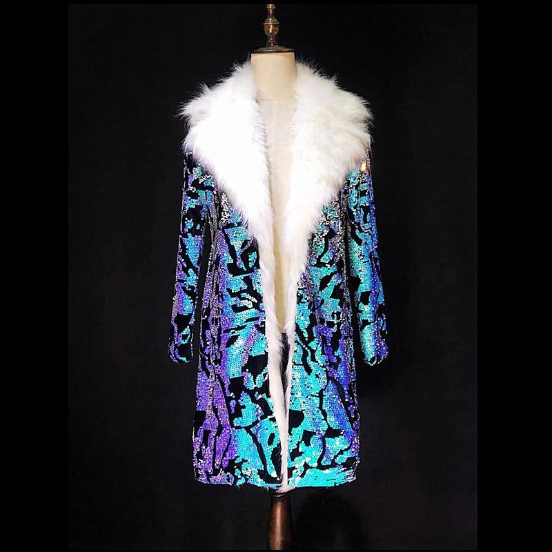 O obniżonej cenie S 4XL niebieski cekiny luksusowe długa kurtka DS DJ mężczyźni piosenkarka tancerz pokaż Bar w stylu Vintage kostium klub nocny Party płaszcz strój w Kurtki od Odzież męska na  Grupa 1