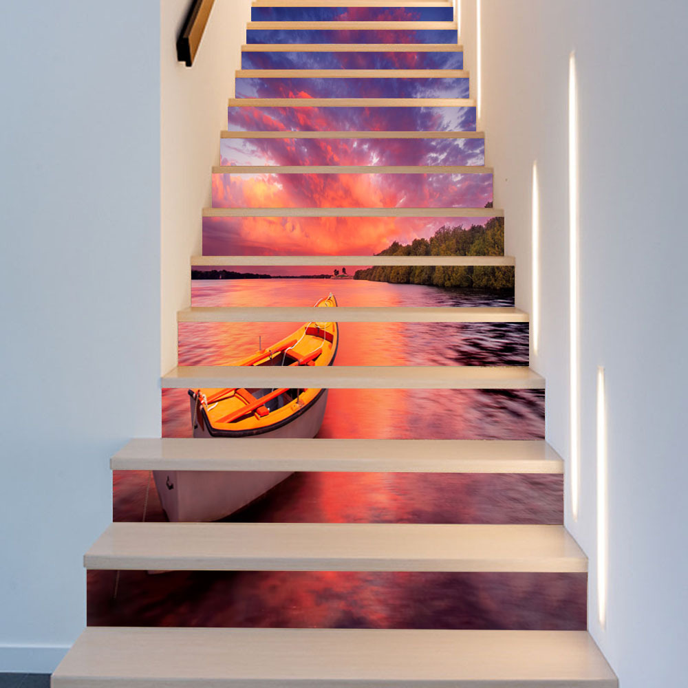 3D Lake Surface Sunset Boat DIY Stairs Art Mural Landscape Walll Sticker Step Decoration Poster PVC Home Renovation Wallpaper